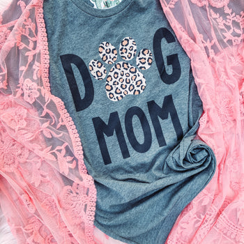 Dog Mom Leopard - Crew Neck T-Shirt