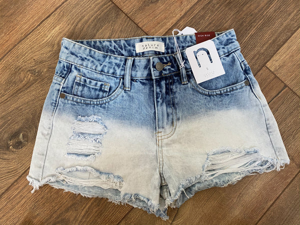 Ombre Dipped Jean Shorts