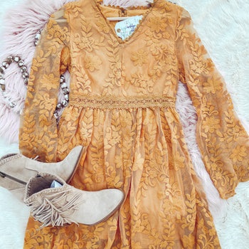 Kerosene Lace Mustard Dress - Small left