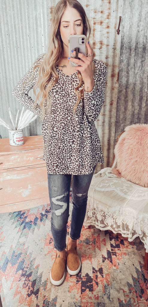 Meooow - Leopard Print Top- Reg. & Plus - Small  left