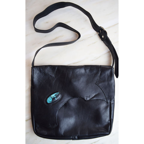 Breezy Mountain Leather Purse - Black with Turquoise 2