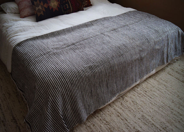 Brown & White Striped Blanket