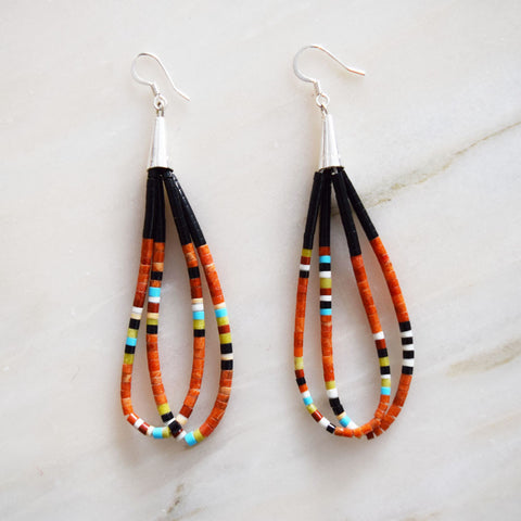 Earrings - Orange Beaded