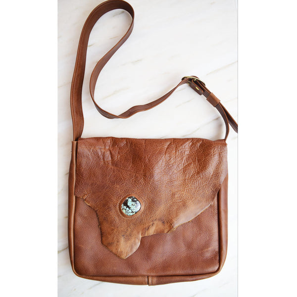 Breezy Mountain Leather Purse - Brown with Turquoise 2