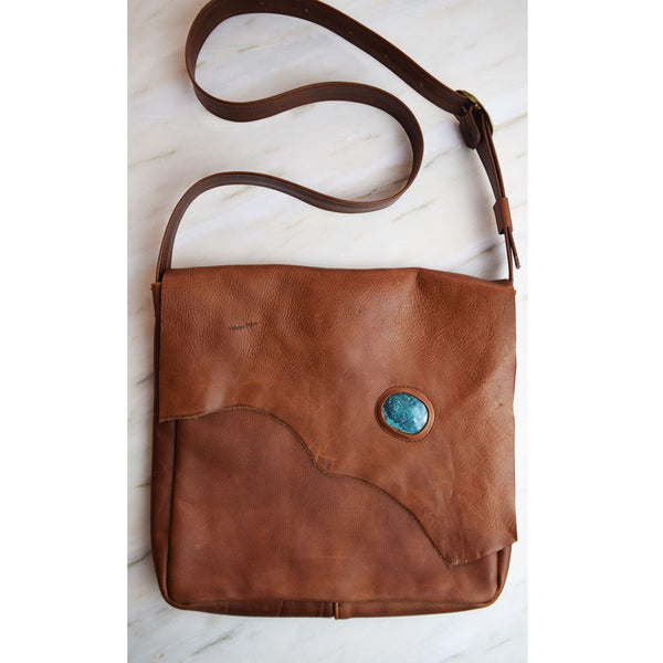 Breezy Mountain Leather Purse - Brown with Turquoise