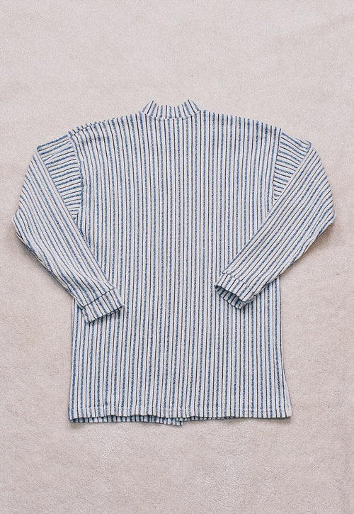 Vintage 90s White Blue Striped Sweater Cardigan