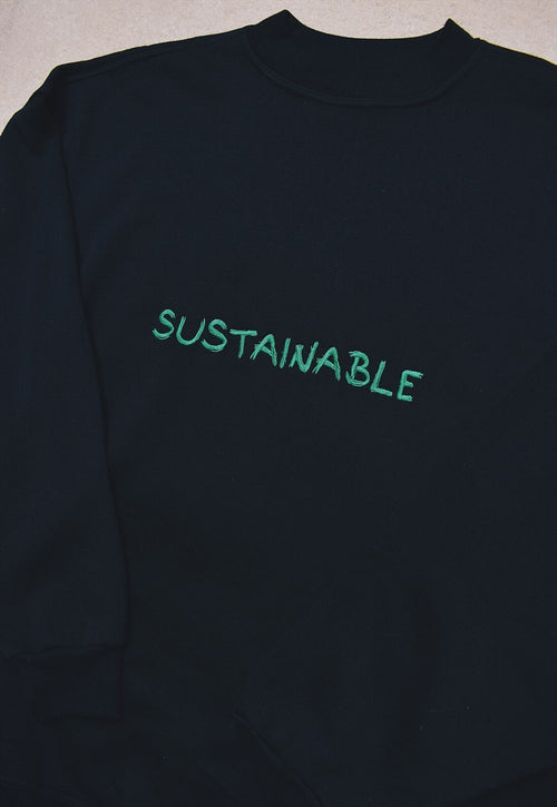 NORTH Sustainable Reworked Black Green Embroidered Sweater