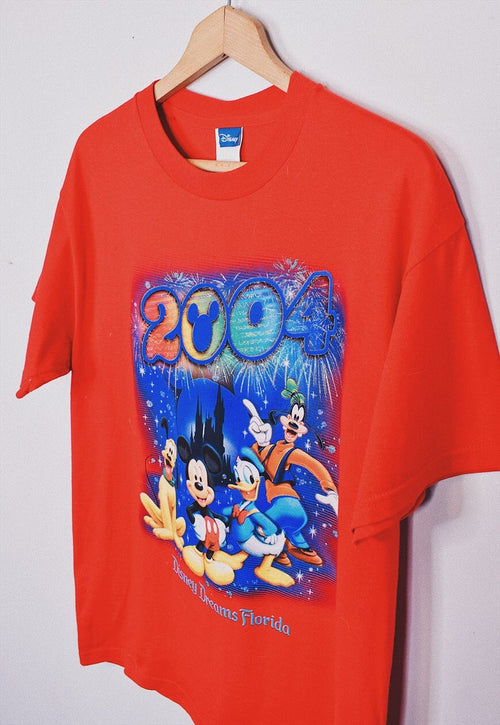 Vintage 2004 Disney Red Print T Shirt