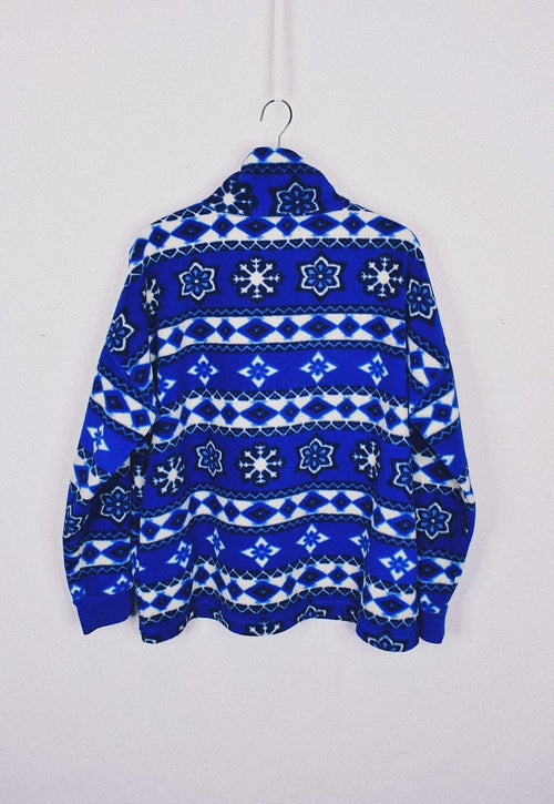 Vintage 90s Blue Funky Pattern Fleece Jacket