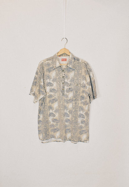 Vintage 90s Grey Tribal Print Pullover Shirt