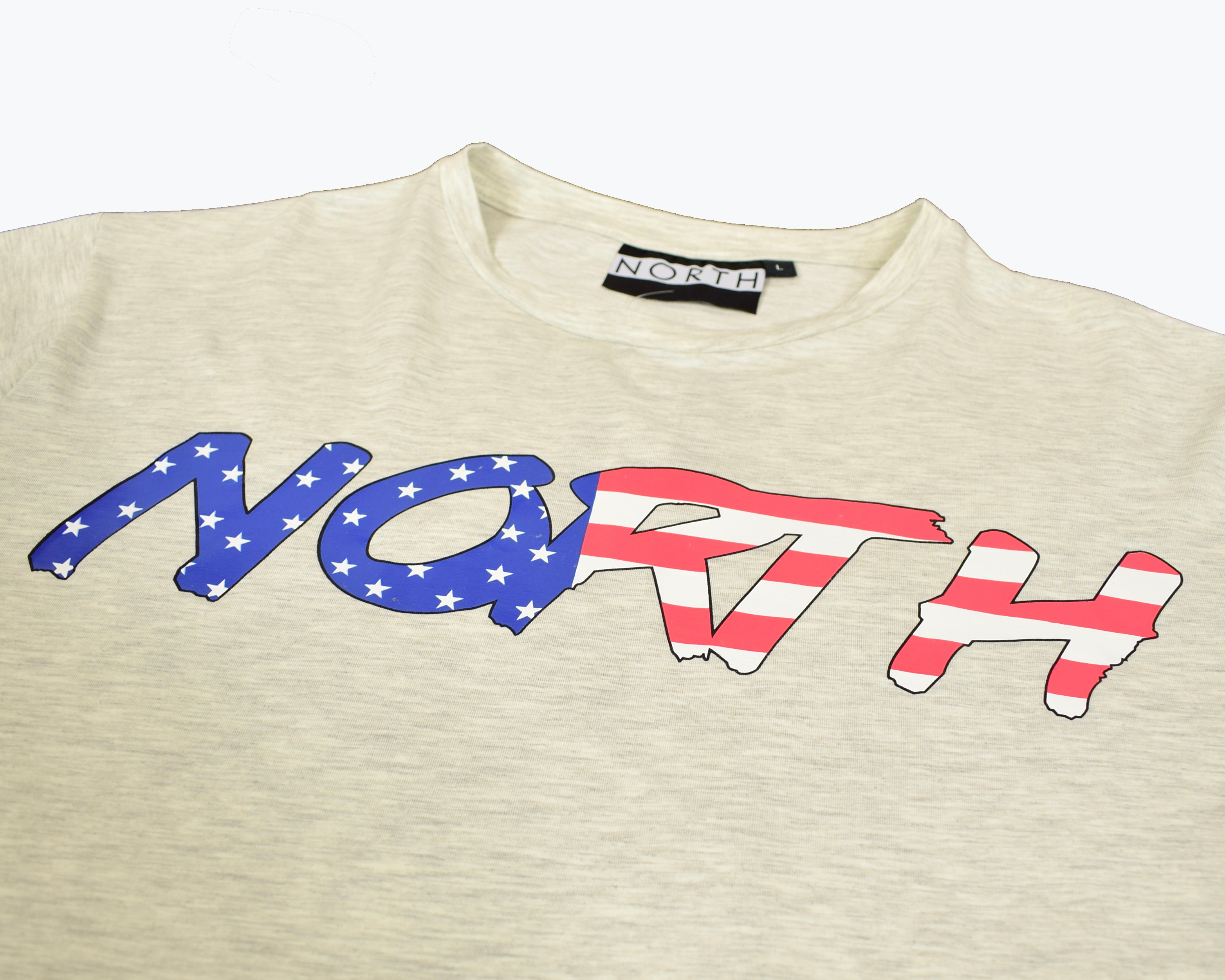 NORTH USA FONT FLAG LOGO UNISEX T SHIRT