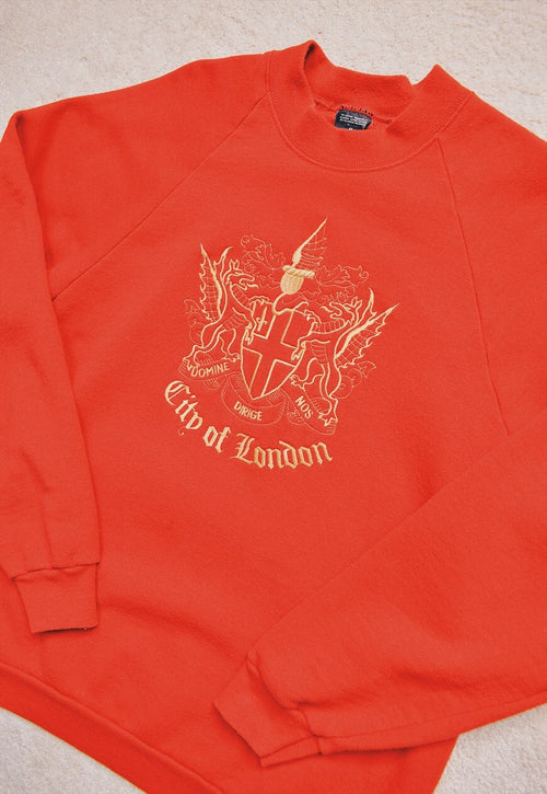 Vintage 90s Red London Embroidered Sweater