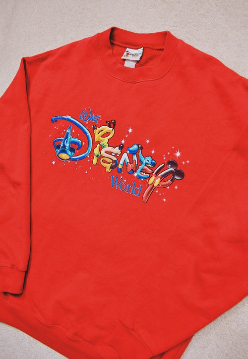 Vintage Disney Red Character Print Spell Out Sweater