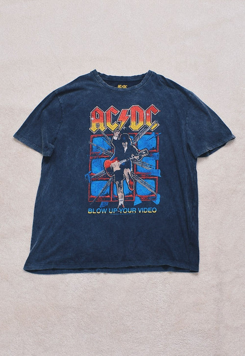 Retro ACDC Washed Black Double Print T Shirt