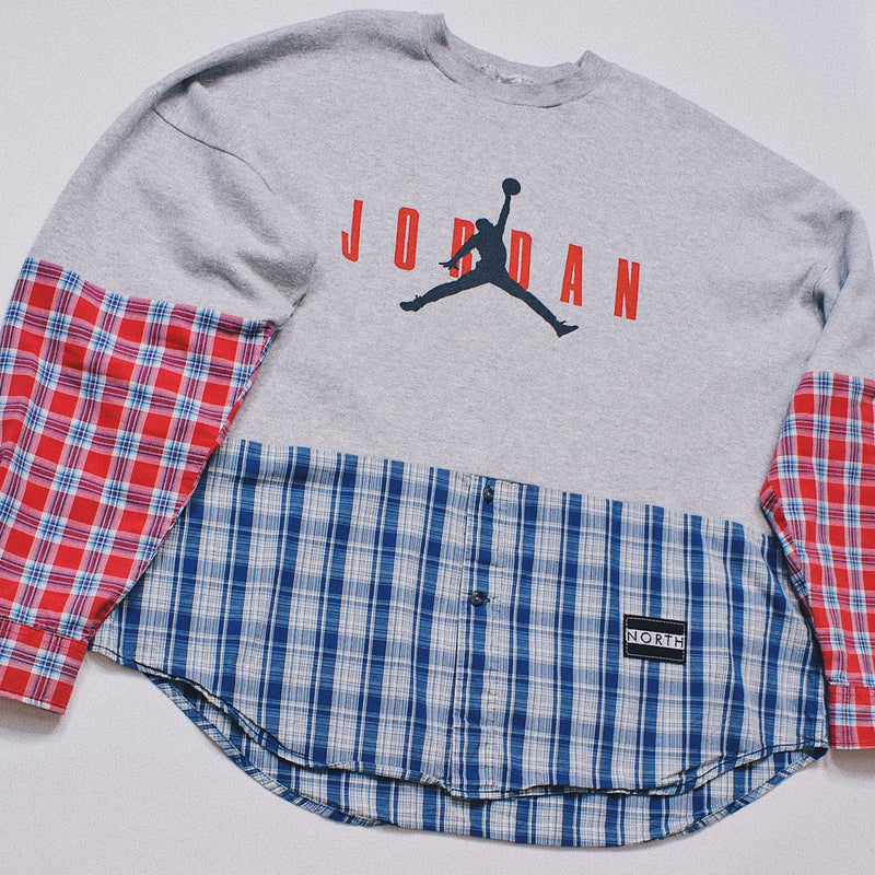 Reworked Air Jordan Patchwork Spliced Sweater