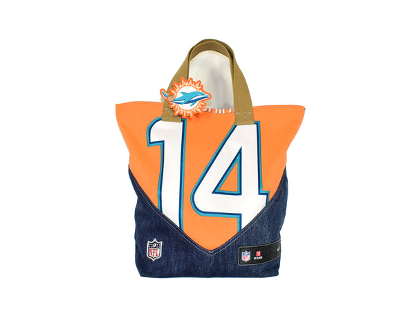 Reworked Handmade Miami Dolphins Tote Bucket Bag