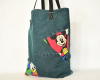 Handmade Reworked Denim Disney Tote Bucket Bag