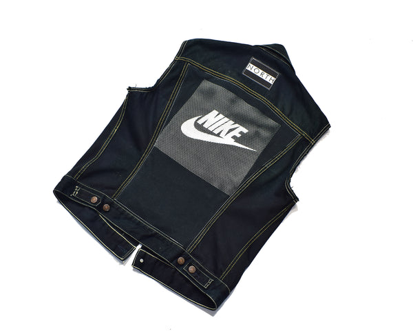 Nike Custom Upcycled Sleeveless Denim Jacket