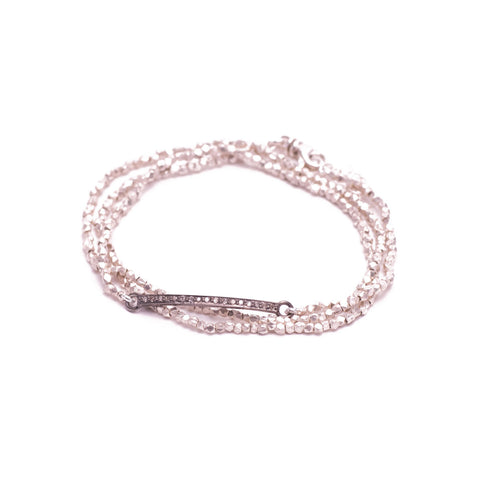SILVER WRAP BRACELET WITH DIAMOND BAR