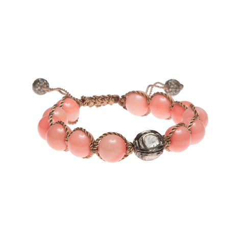 CORAL & ROSECUT DIAMOND FRIENDSHIP BRACELET