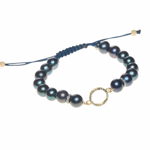 PEACOCK PEARL & DIAMOND HALO LUCK BRACELET