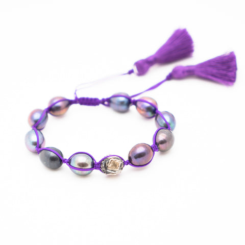 BLACK PEARL & ROSECUT DIAMOND FRIENDSHIP BRACELET WITH VIOLET TASSEL