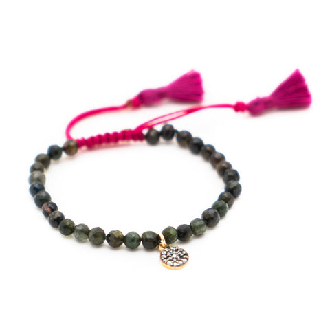 GREEN TOURMALINE & PAVE DIAMOND LUCK BRACELET WITH FUCHSIA TASSEL