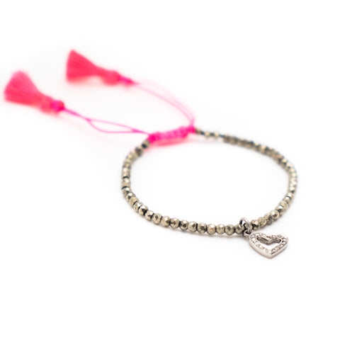 PYRITE & PAVE DIAMOND HEART CHARM LUCK BRACELET WITH NEON PINK TASSEL