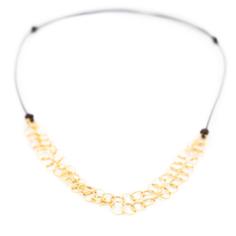 HANDMADE 18K YELLOW GOLD LINK & LEATHER NECKLACE