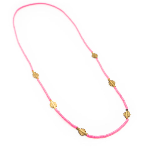 DONA BELLA HOT PINK AFRICAN VINYL NECKLACE