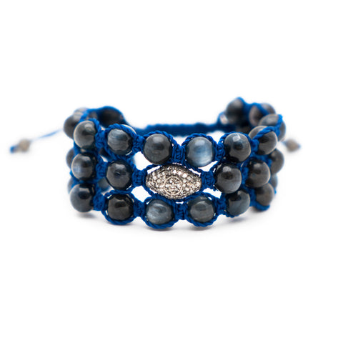 MYSTIC BLUE KYNITE & PAVE DIAMOND CUFF