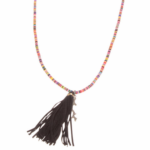AFRICAN VINYL & DIAMOND CORAL BRANCH NECKLACE WITH TASSEL
