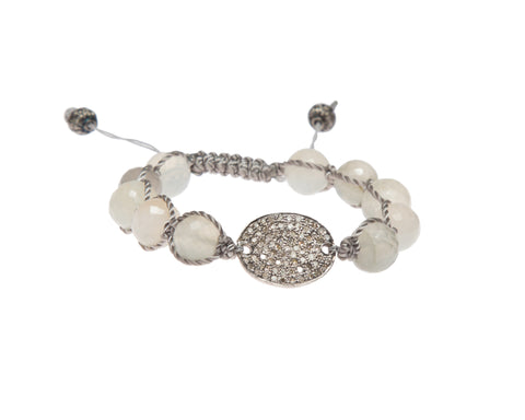 RAINBOW MOONSTONE & PAVE DIAMOND DISC FRIENDSHIP BRACELET