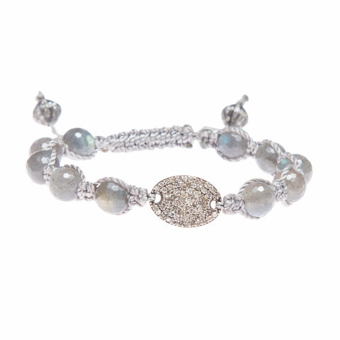 LABRADORITE & DIAMOND DISC FRIENDSHIP BRACELET