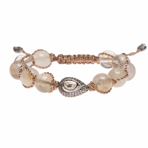 GOLD RUTILATED QUARTZ & DIAMOND FRIENDSHIP BRACELET