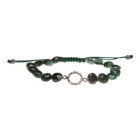 EMERALD & PAVE DIAMOND HALO LUCK BRACELET