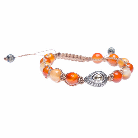 CARNELIAN & ROSE CUT DIAMOND FRIENDSHIP BRACELET