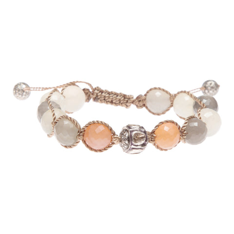 RAINBOW MOONSTONE & ROSE CUT DIAMOND FRIENDSHIP BRACELET