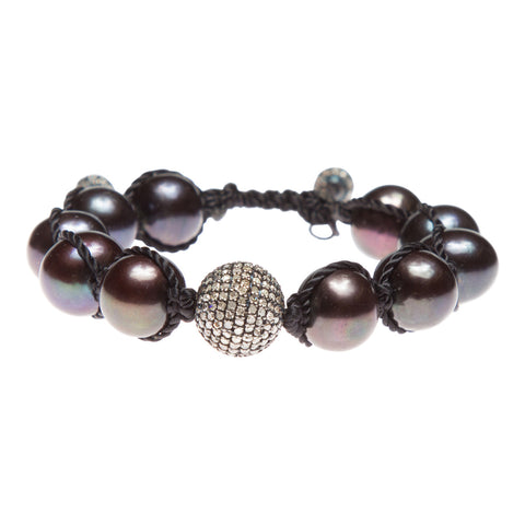 BLACK PEARL & PAVE DIAMOND FRIENDSHIP BRACELET