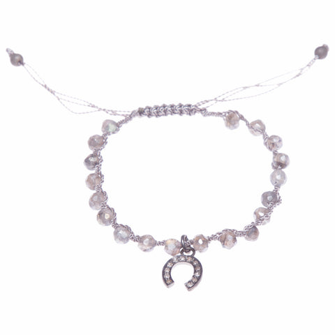 LABRADORITE & DIAMOND HORSESHOE LUCK BRACELET