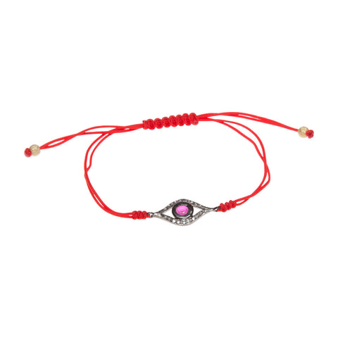RUBY & DIAMOND EVIL EYE LUCK BRACELET