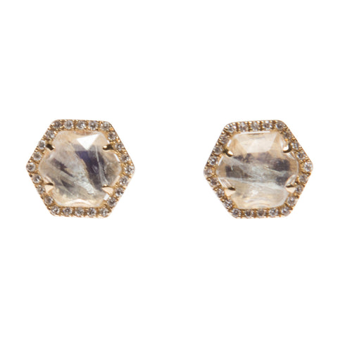 MOONSTONE STUDS WITH DIAMOND HALOS