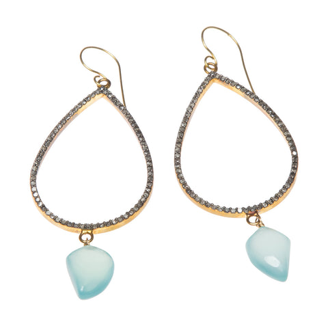 DIAMOND TEARS CHANDELIER EARRINGS WITH CHALCEDONY DROPS