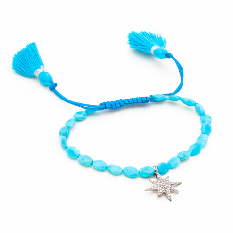 SLEEPING BEAUTY TURQUOISE & PAVE DIAMOND STAR LUCK BRACELET