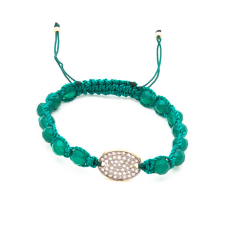 GREEN ONYX & PAVE DIAMOND FRIENDSHIP BRACELET