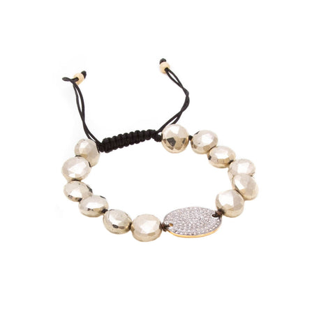 PYRITE COIN & PAVE DIAMOND FRIENDSHIP BRACELET