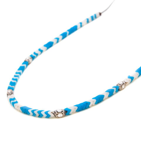 TURQUOISE & CREAM AFRICAN SNAKE BEAD ROSECUT DIAMONDS NECKLACE