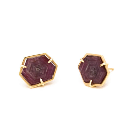 RUBY SLICE STUDS IN 14K YELLOW GOLD