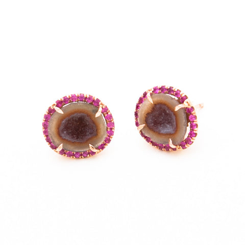 RAINBOW GEODE SLICE STUDS WITH RUBIES