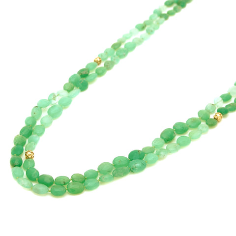 ENDLESS PREHNITE & 20K YELLOW GOLD NECKLACE